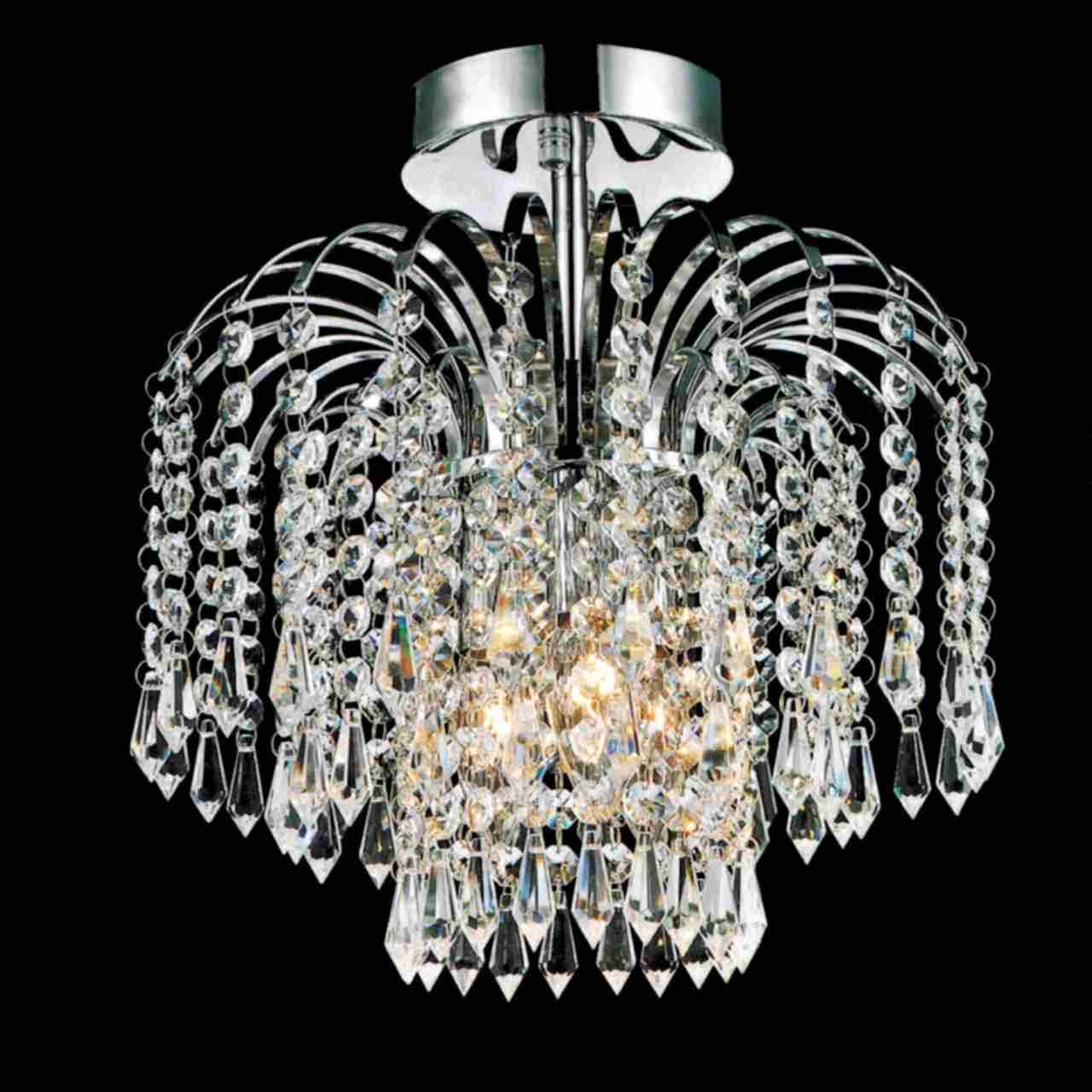 Brizzo Lighting Stores 12 Fountain Crystal Semi Flush Mount Intended For Small Chrome Chandelier (#2 of 12)