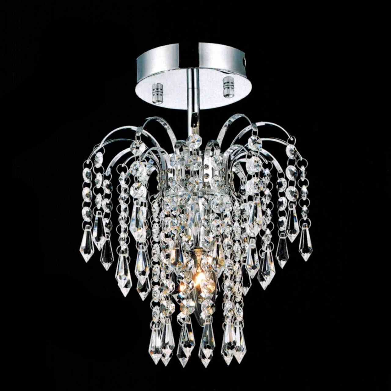 Brizzo Lighting Stores 12 Fountain Crystal Semi Flush Mount Within Small Chrome Chandelier (#3 of 12)