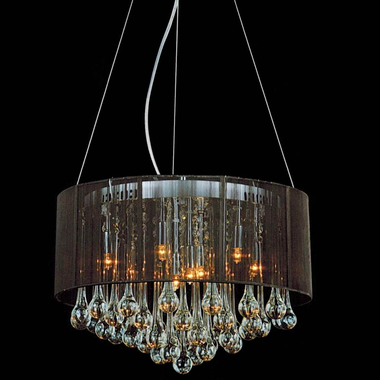 Brizzo Lighting Stores 18 Gocce Modern String Drum Shade Crystal Within Modern Silver Chandelier (#4 of 12)