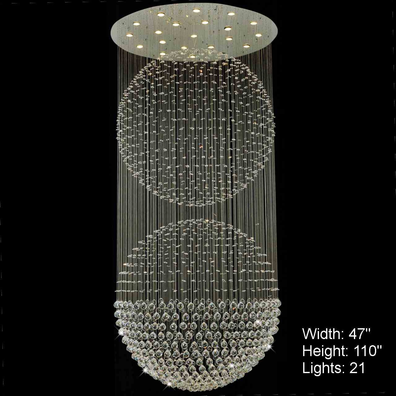 Brizzo Lighting Stores Double Sphere Modern Foyer Crystal Throughout Mirror Chandelier (View 7 of 12)