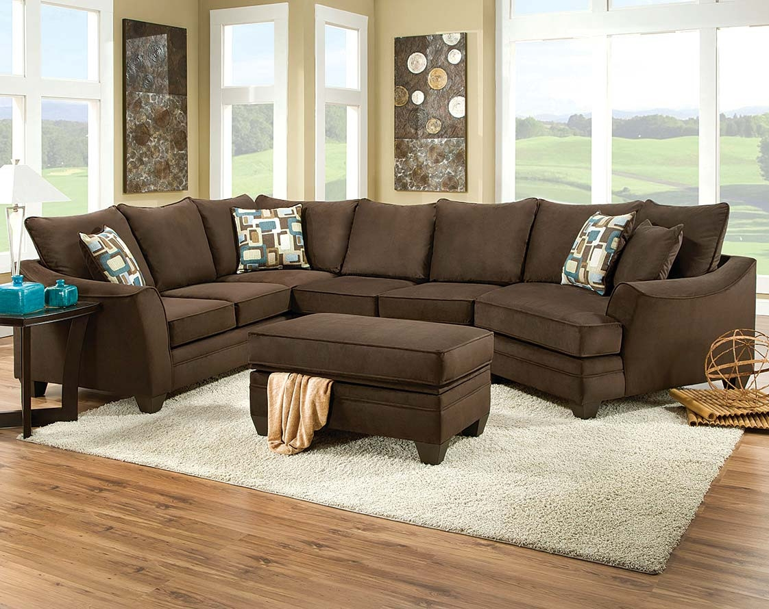Brown Couch With Cuddler Flannel Chocolate 3 Piece Sectional For Cuddler Sectional Sofa (#2 of 12)