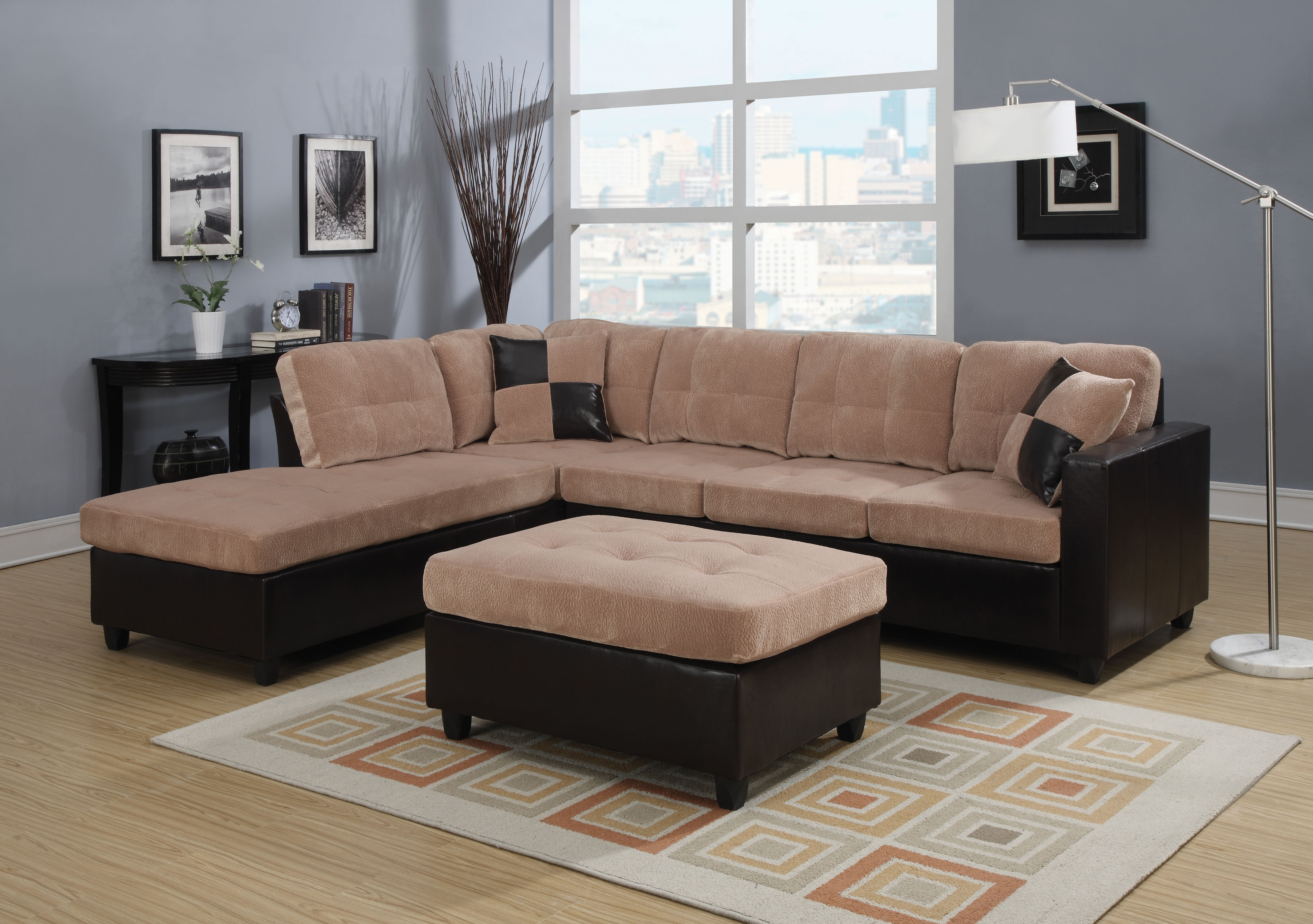 Camel Champion Reversible Sectional Sofa With 2 Pillows In Champion Sectional Sofa (#2 of 12)