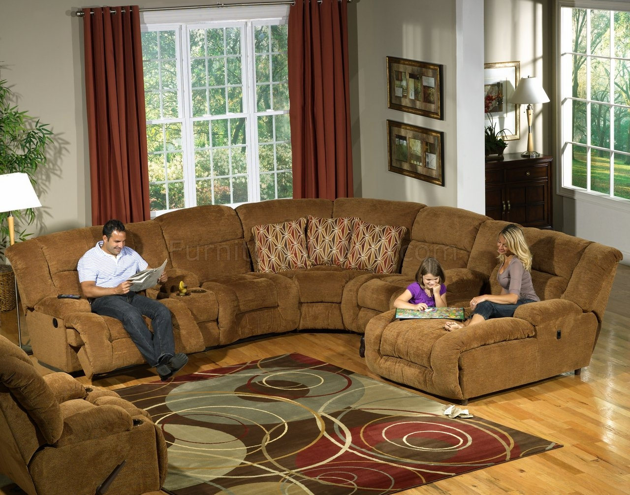 Camel Fabric Enterprise 4pc Reclining Sectional Sofa Woptions Throughout Camel Sectional Sofa (#6 of 12)