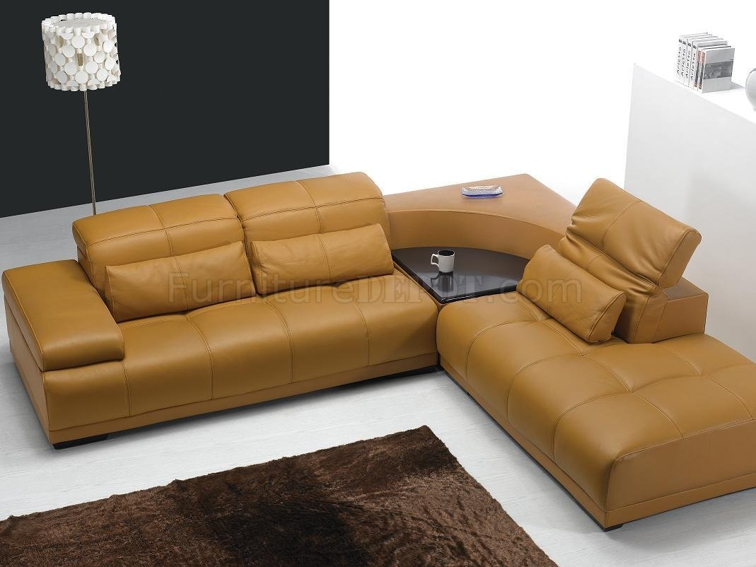 Camel Leather Modern Sectional Sofa 697 Regarding Camel Sectional Sofa (#7 of 12)