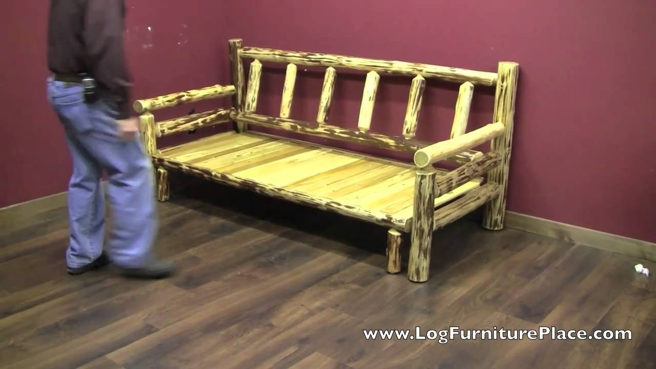 Cedar Lake Easy Glide Log Futon Rustic Log Sleeper Sofa Youtube For Diy Sleeper Sofa (#4 of 12)