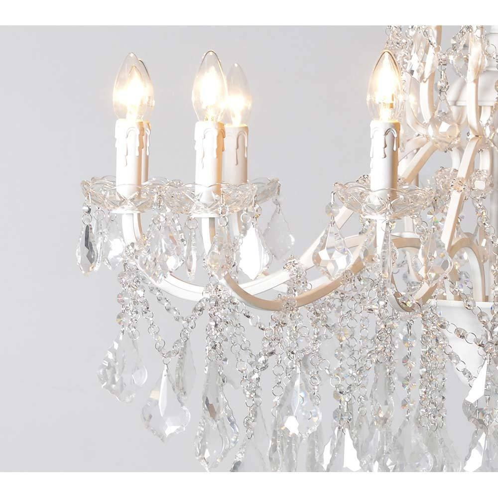Chambery White Glass Chandelier Crystal Chandelier Pertaining To French Glass Chandelier (#3 of 12)