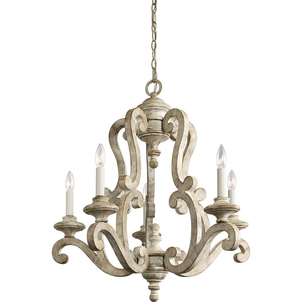 Chandelier 5lt 43256daw Living Lighting Newmarket Throughout French Wooden Chandelier (#3 of 12)