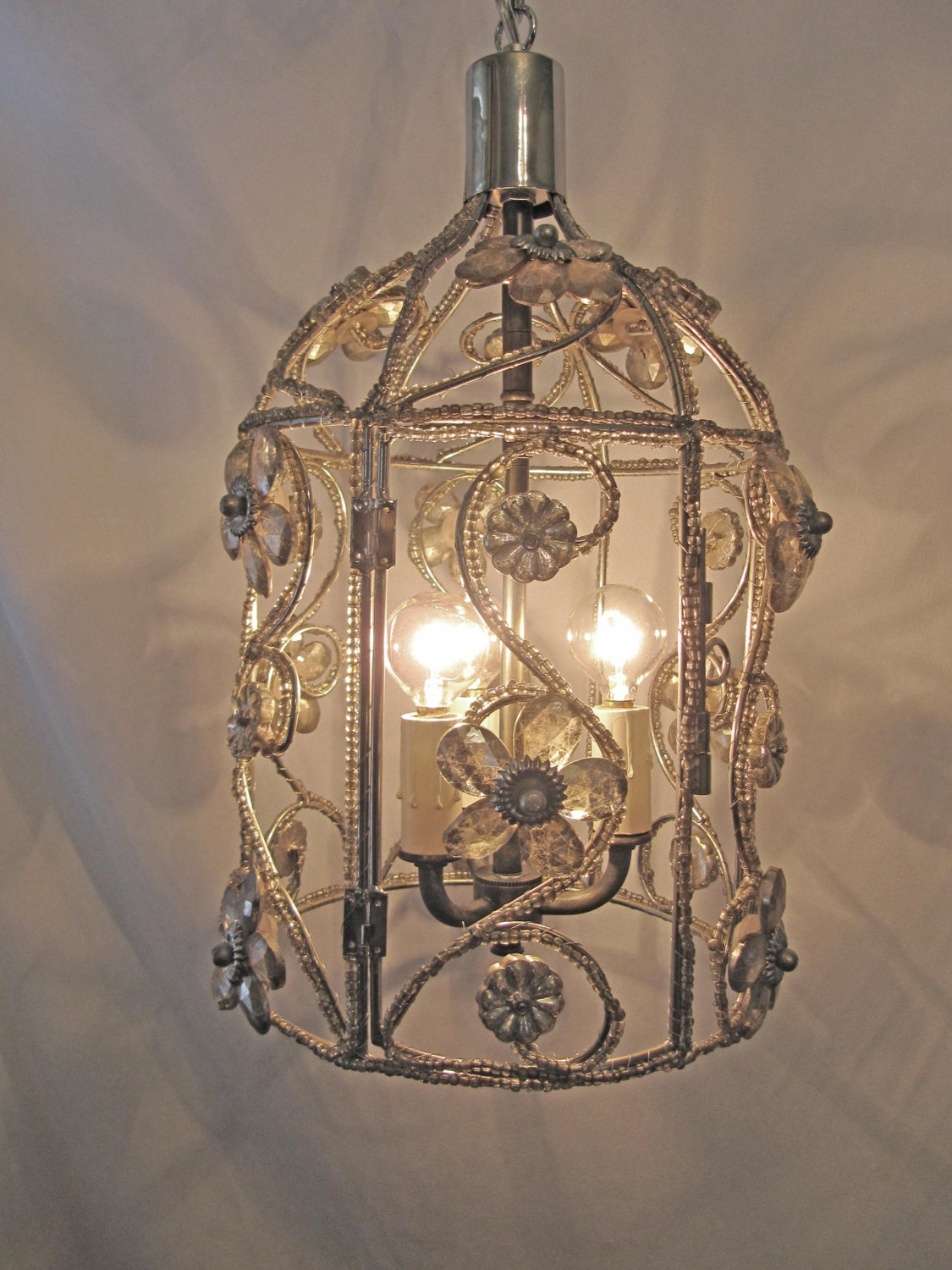 Chandelier Bird Cage Fixture Custom Repurposed 3 Lights Nickel Inside Caged Chandelier (#6 of 12)