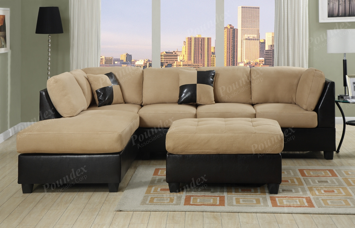 Cheap Sofas And Sectionals Cleanupflorida Regarding Abbyson Living Charlotte Dark Brown Sectional Sofa And Ottoman (#5 of 12)