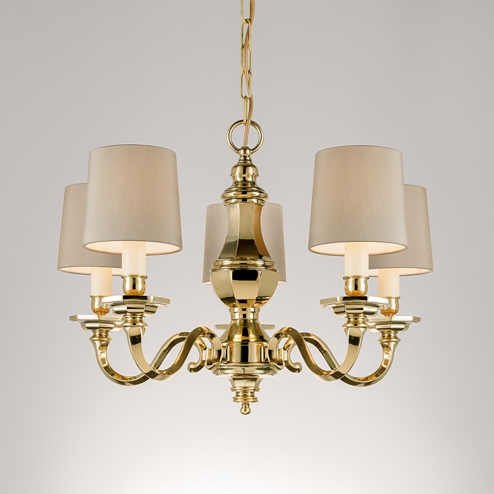 Chelsom Georgian Chandelier With 5 Arms Polished Brass Houseology Intended For Georgian Chandelier (#1 of 12)
