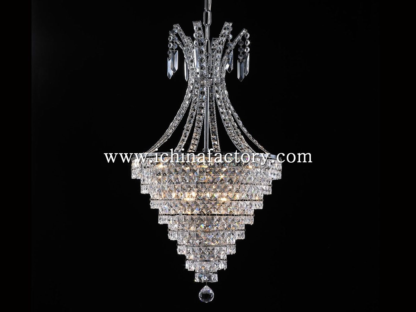 China Factory Wowlite Cone Shape Chandelier Pendant Lamp Dressed With Regard To Chinese Chandelier (#4 of 12)
