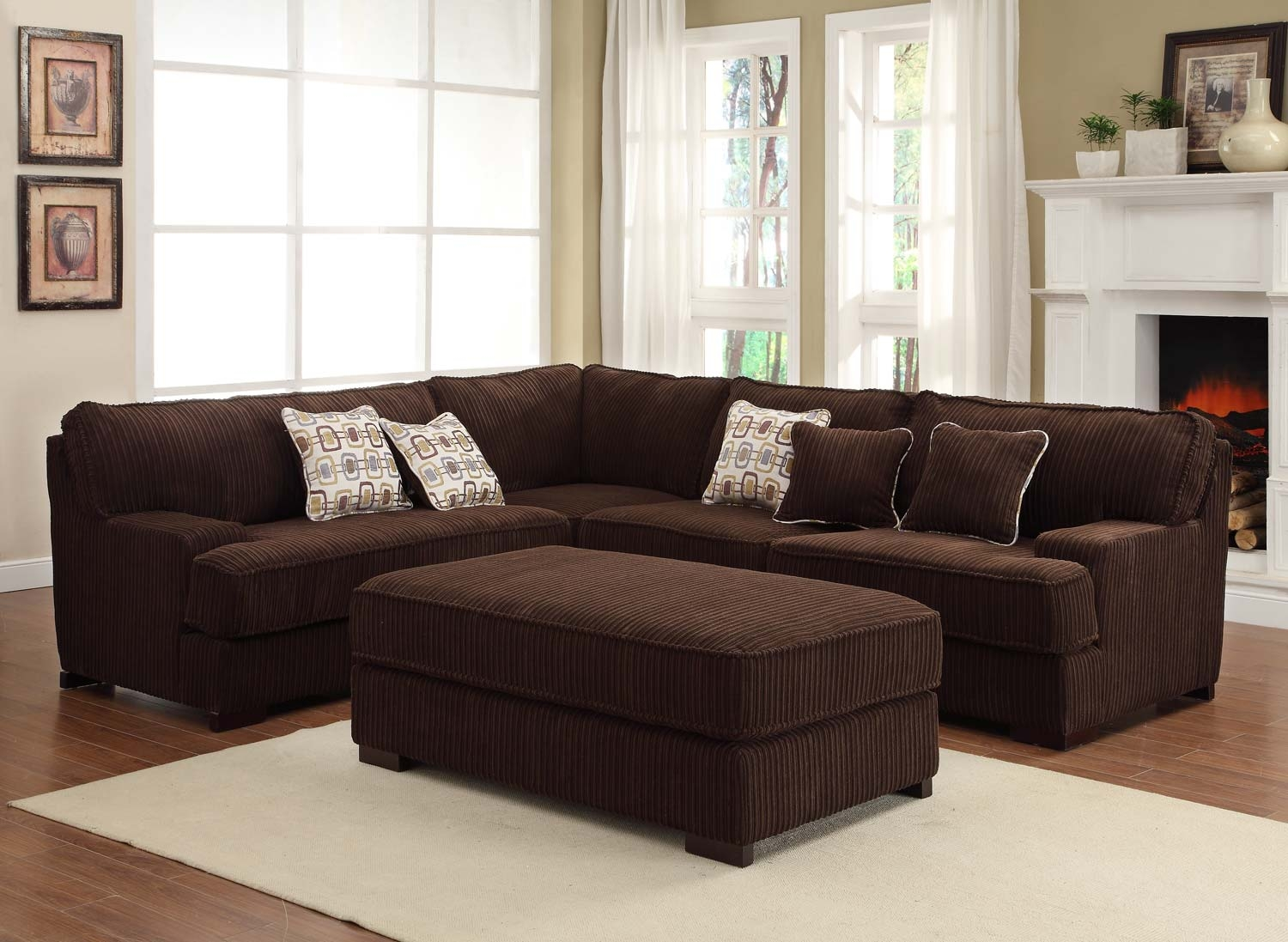 Chocolate brown sectional sofas living room found it at for Living room sectionals