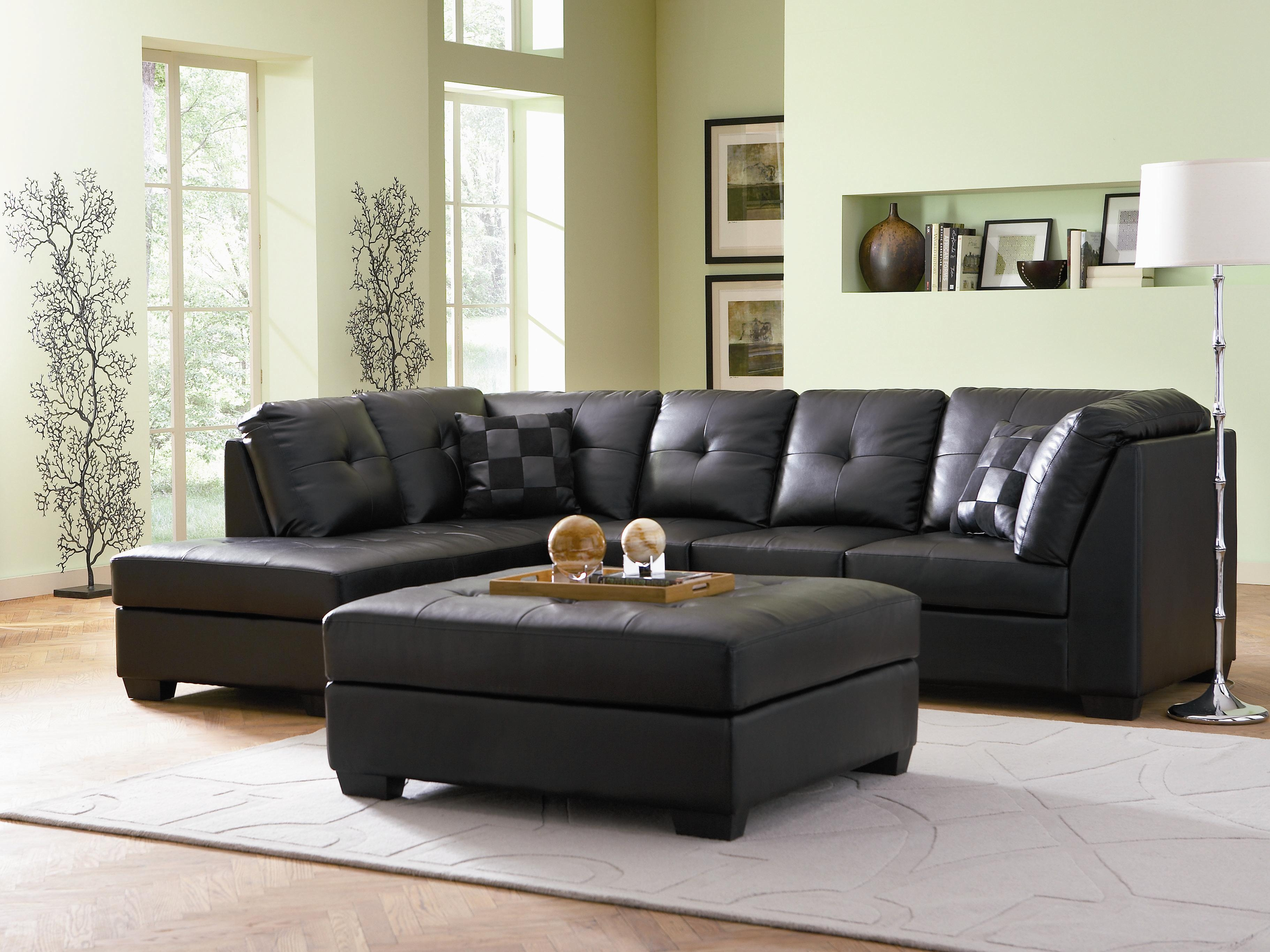 Popular Photo of Contemporary Black Leather Sectional Sofa Left Side Chaise