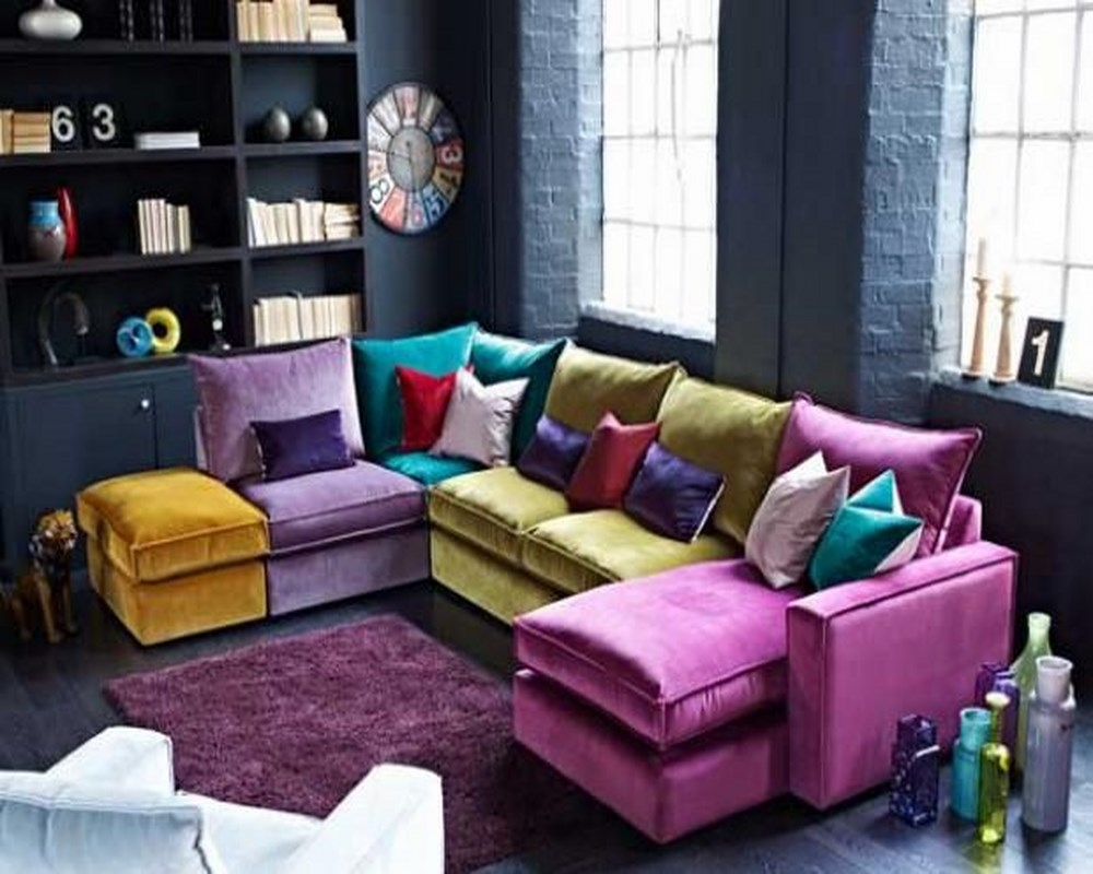 Popular Photo of Colorful Sectional Sofas