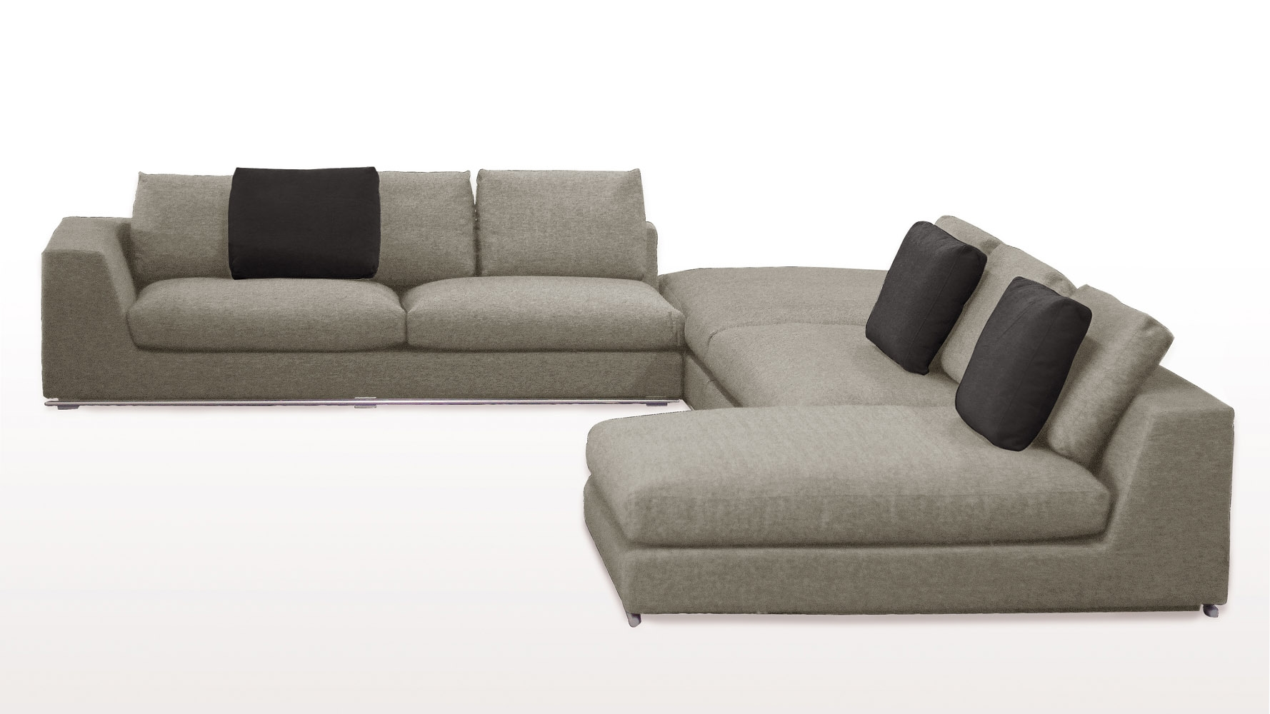 Comodo Sectional Sofa With Ottoman Grey Zuri Furniture Pertaining To Armless Sectional Sofas (#9 of 12)