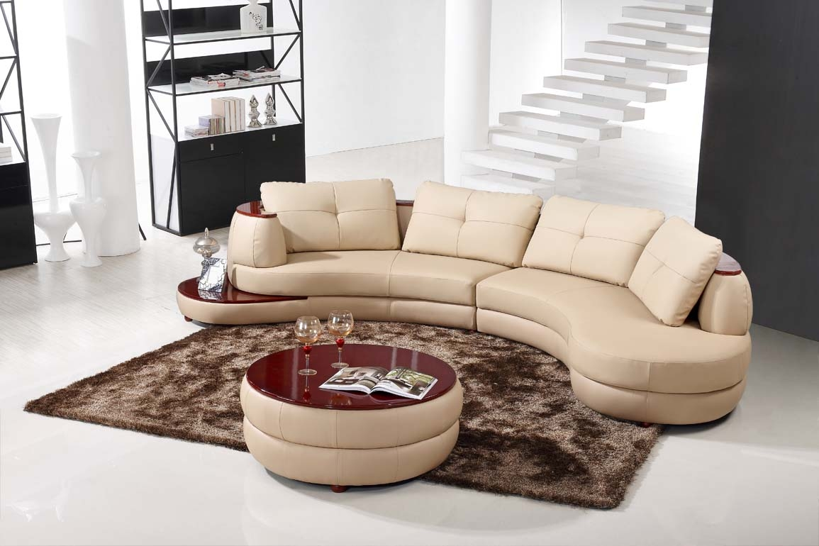 Contemporary Beige Leather Sectional Curved Sofa With Round Modern With Contemporary Curved Sofas (#1 of 12)