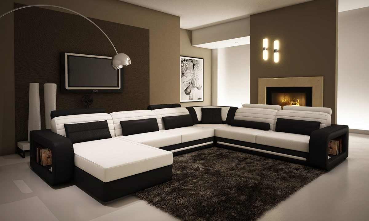 Contemporary Black And White Leather Sectional Sofa With Regard To Black And White Sectional Sofa (View 6 of 12)