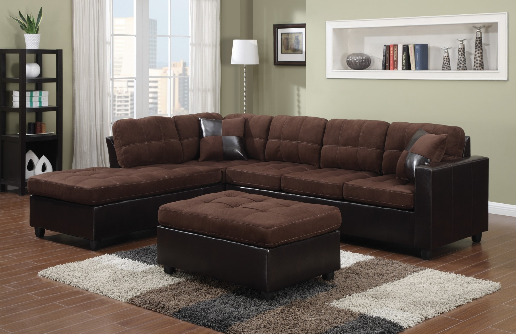 Left sided sectional sofa contemporary black leather for Black leather chaise sofa
