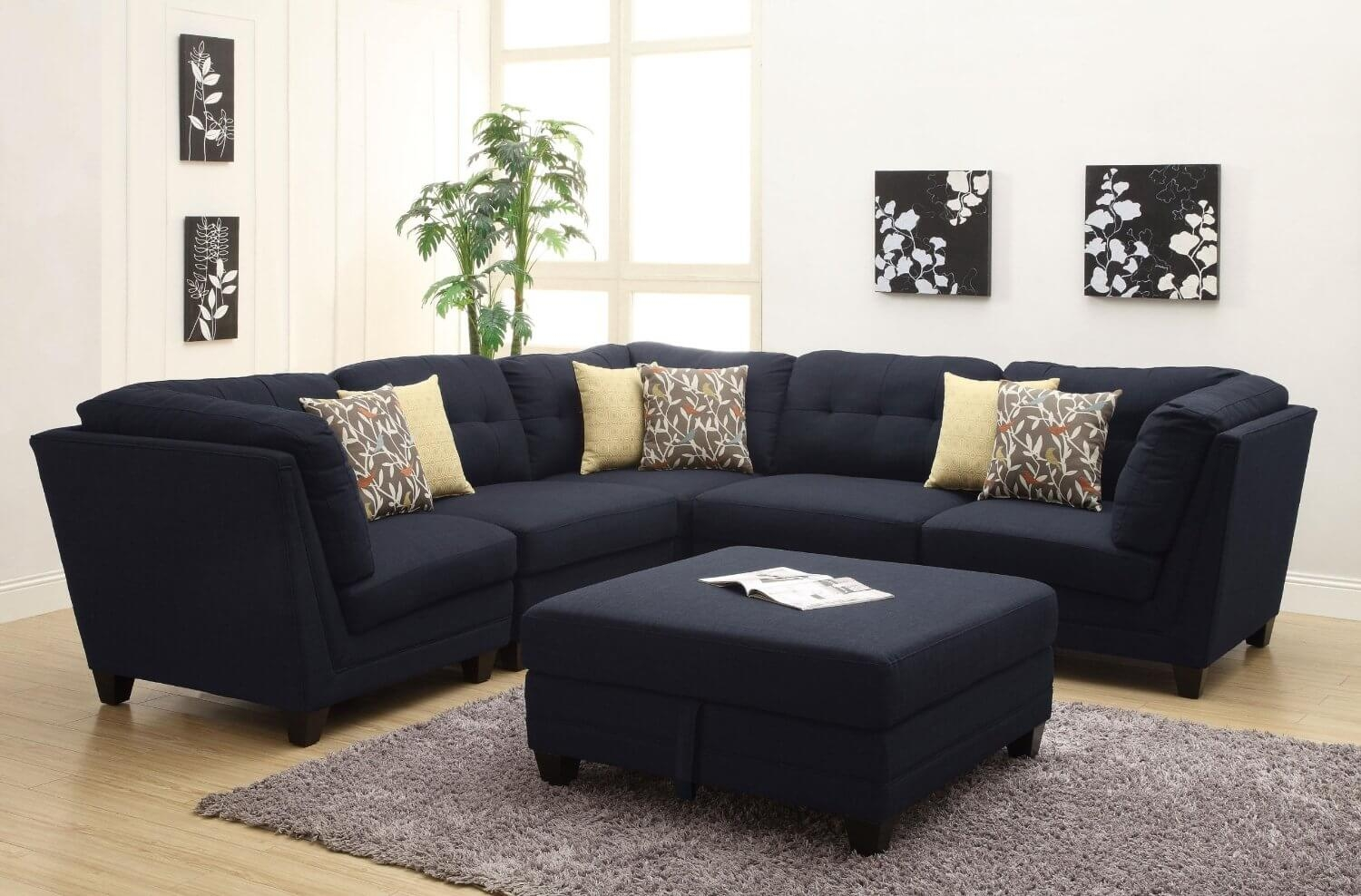 Contemporary Black Leather Sectional Sofa Left Side Chaise Within Contemporary Black Leather Sectional Sofa Left Side Chaise (#9 of 12)