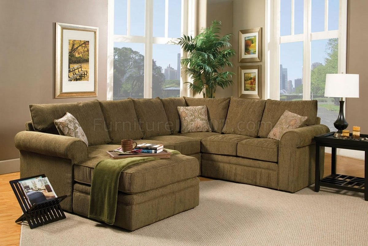 Contemporary Sectional Sofa And Ottoman Set In Chenille Fabric For Chenille Sectional Sofas (#9 of 12)