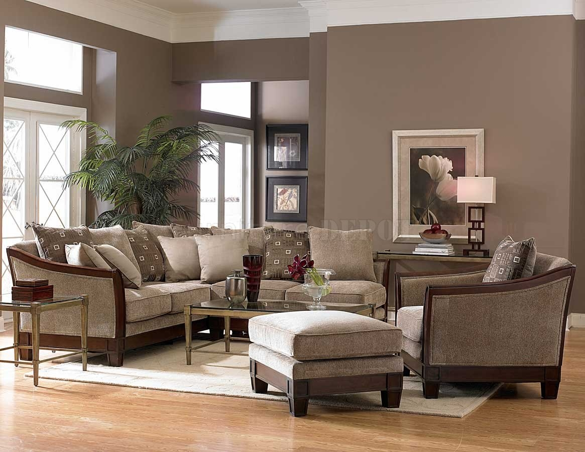 Contemporary Sectional Sofa And Ottoman Set In Chenille Fabric In Chenille And Leather Sectional Sofa (#12 of 12)
