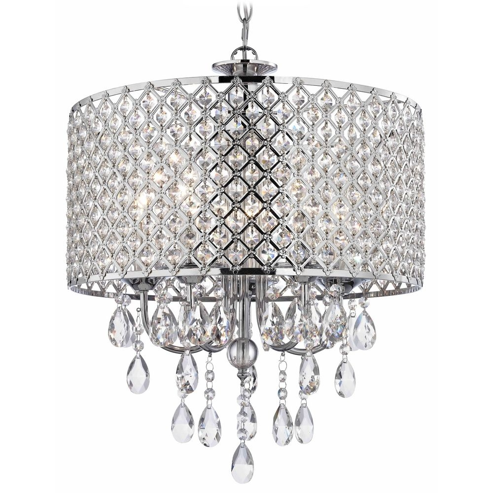 Crystal Chrome Chandelier Pendant Light With Crystal Beaded Drum For Crystal Chrome Chandelier (#7 of 12)