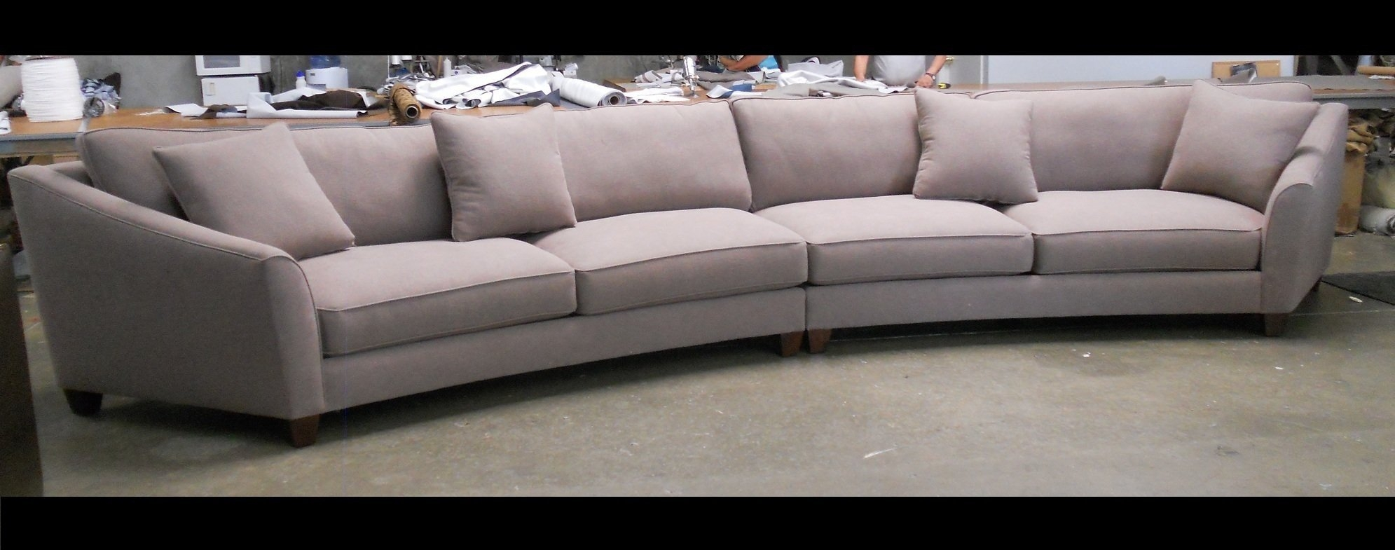 Curved Sectional Sofa Set Rich Comfortable Upholstered Fabric Intended For Circular Sectional Sofa (#3 of 12)