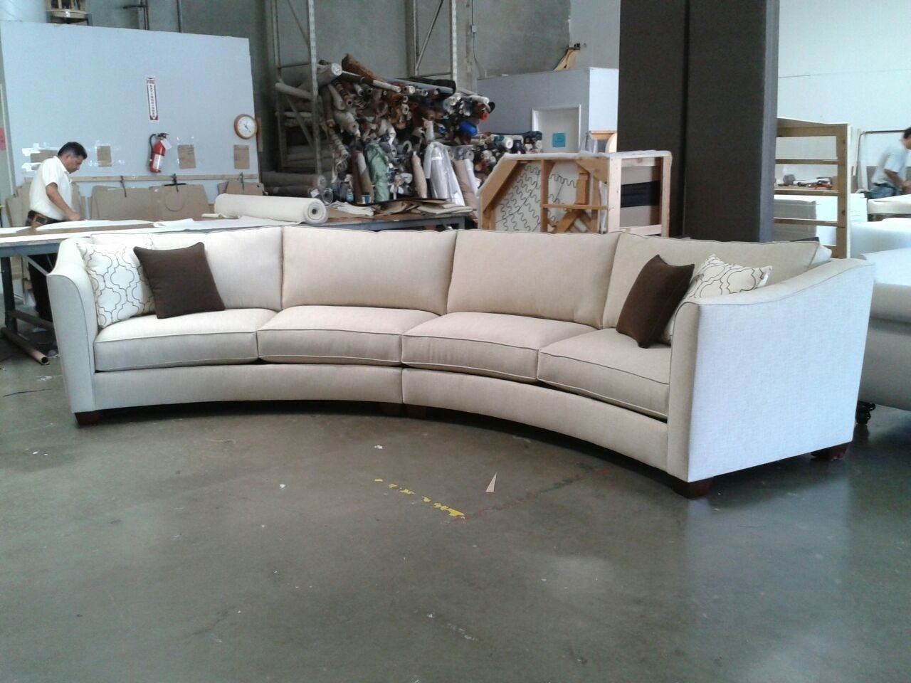 Curved Sectional Sofa Set Rich Comfortable Upholstered Fabric With Regard To Contemporary Curved Sofas (View 11 of 12)