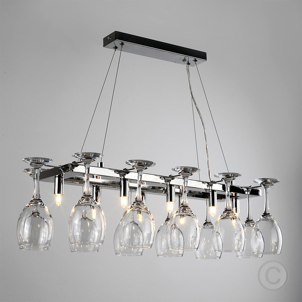 Details About Modern 8 Way Chrome Wine Glass Rack Chandelier Pertaining To Modern Chrome Chandeliers (#8 of 12)