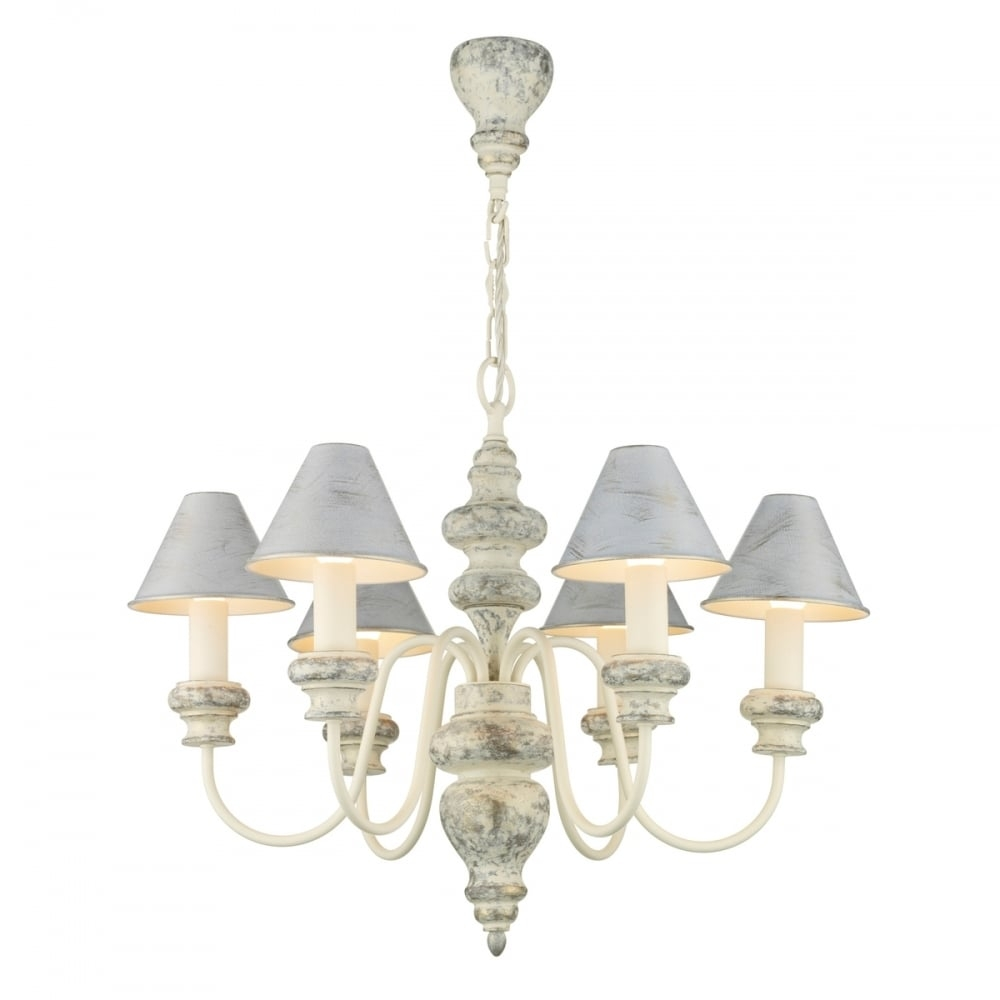 Distressed Cream Edwardian Chandelier With Matching Candle Shades Within Edwardian Chandelier (#6 of 12)