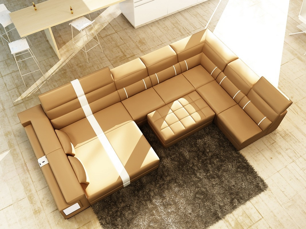 Divani Casa 6144 Modern Camel And White Leather Sectional Sofa In Camel Sectional Sofa (#8 of 12)