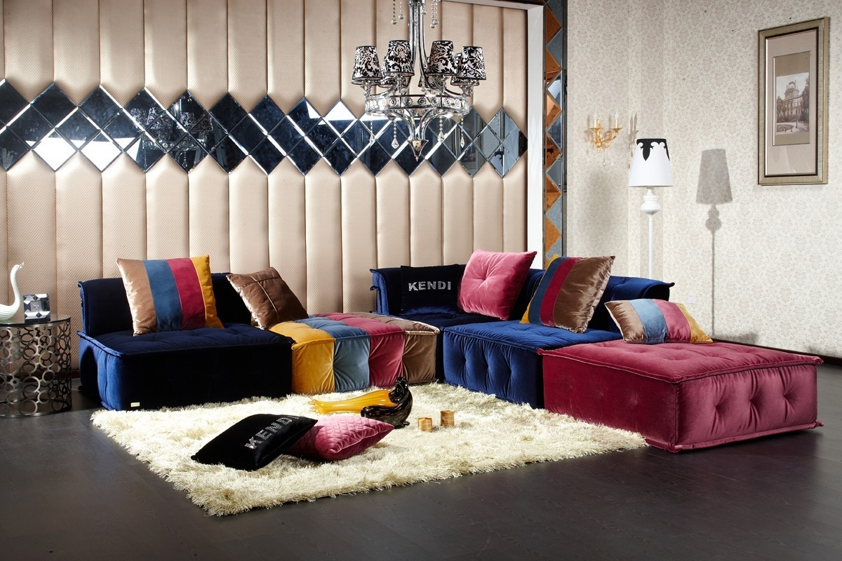 Divani Casa Dubai Contemporary Fabric Sectional Sofa Within Colorful Sectional Sofas (#7 of 12)
