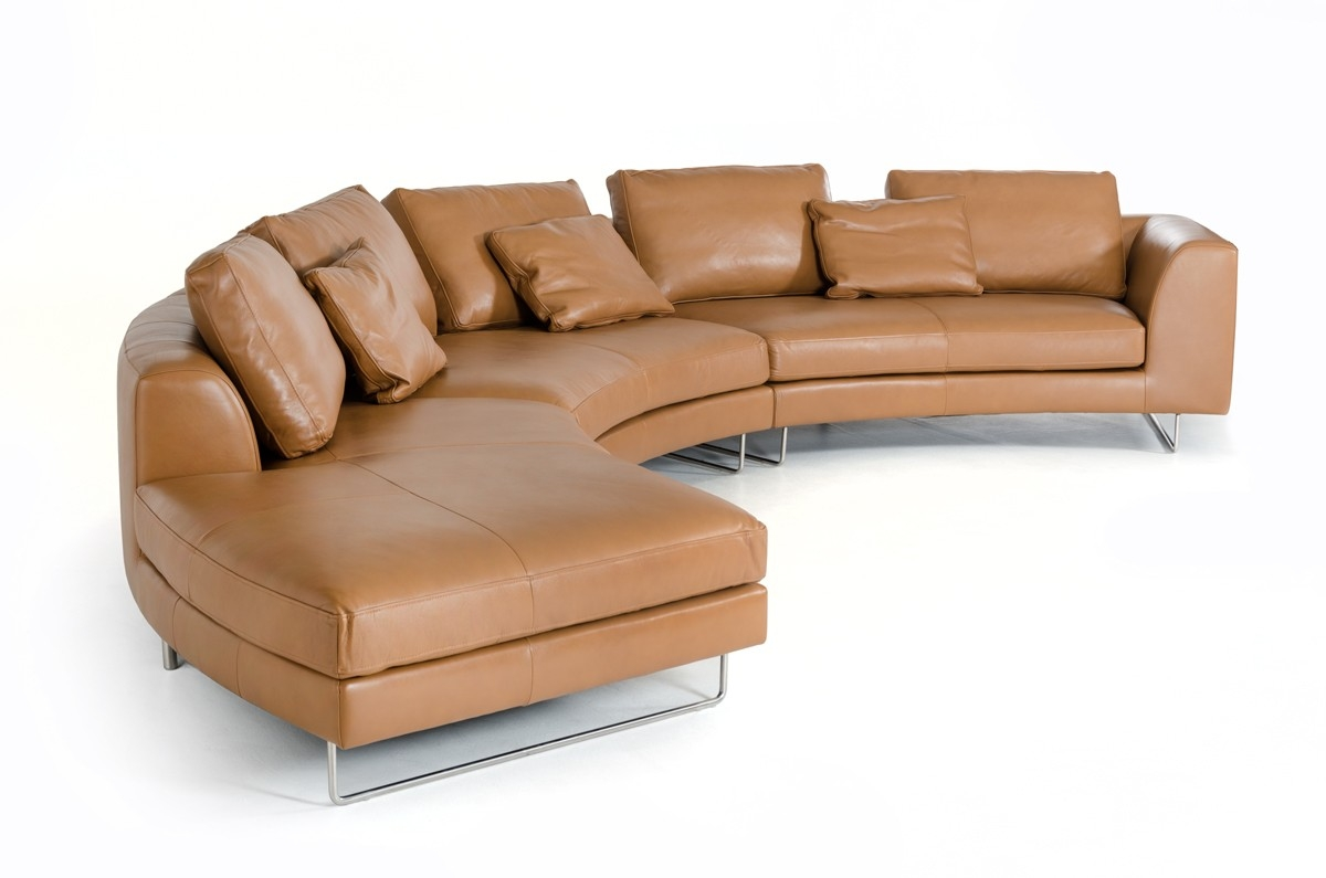 Divani Casa Tulip Modern Camel Leather Sectional Sofa Intended For Camel Sectional Sofa (#9 of 12)