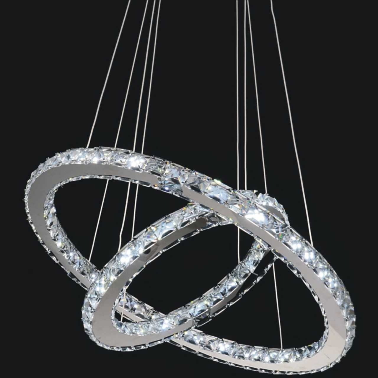 Double Ring Modern Crystal Chandelier Led Lights Modern Crystal Intended For Modern Led Chandelier (#2 of 12)