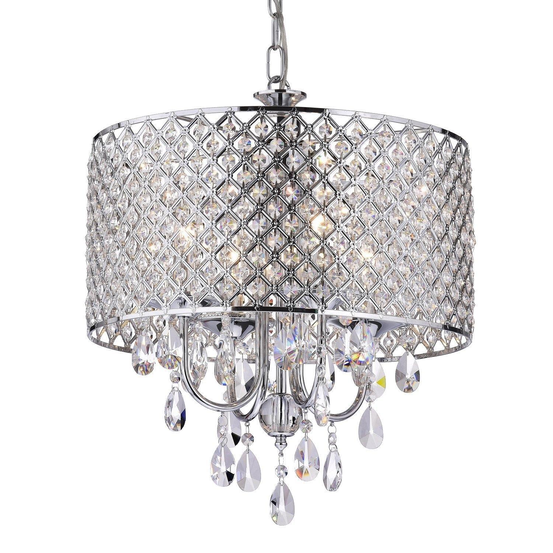 Edvivi Epg801ch Chrome Finish Drum Shade 4 Light Crystal In Chandelier Lights (#7 of 12)