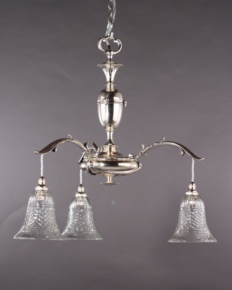 Edwardian Silver Plated Electrolier Faraday And Son With For Edwardian Chandelier (#10 of 12)