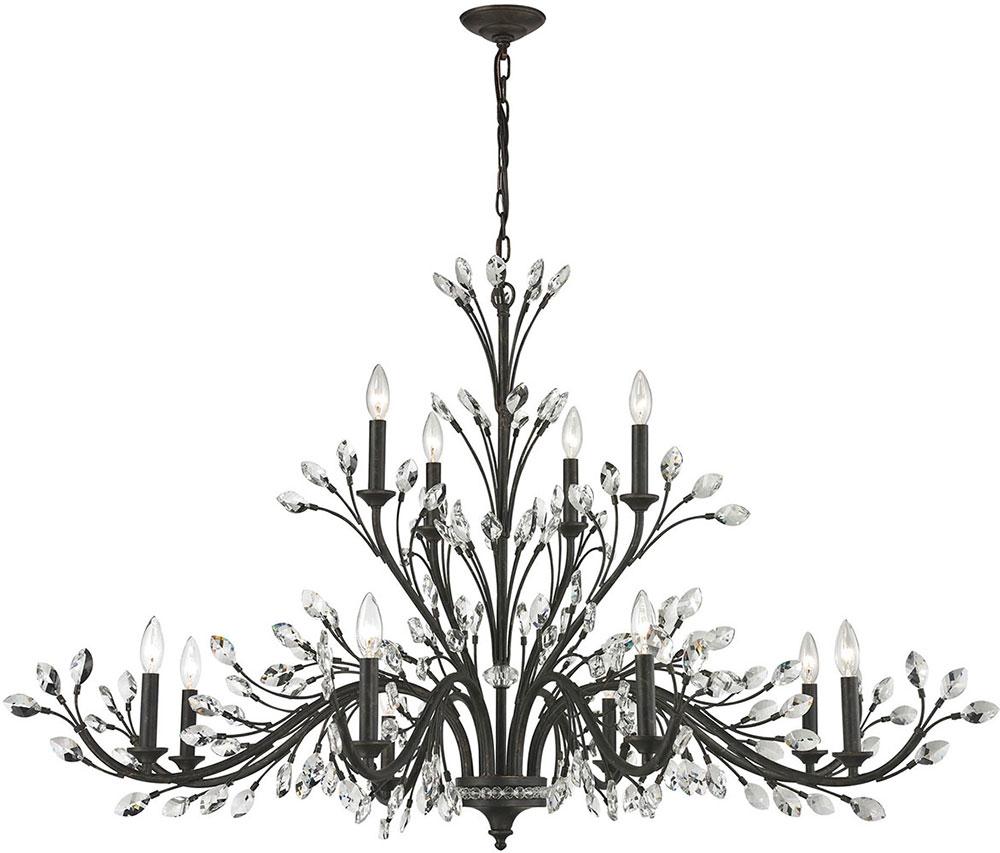 Elk 11777 8 4 Crystal Branches Burnt Bronze Chandelier Lamp Elk Regarding Crystal Branch Chandelier (#6 of 12)