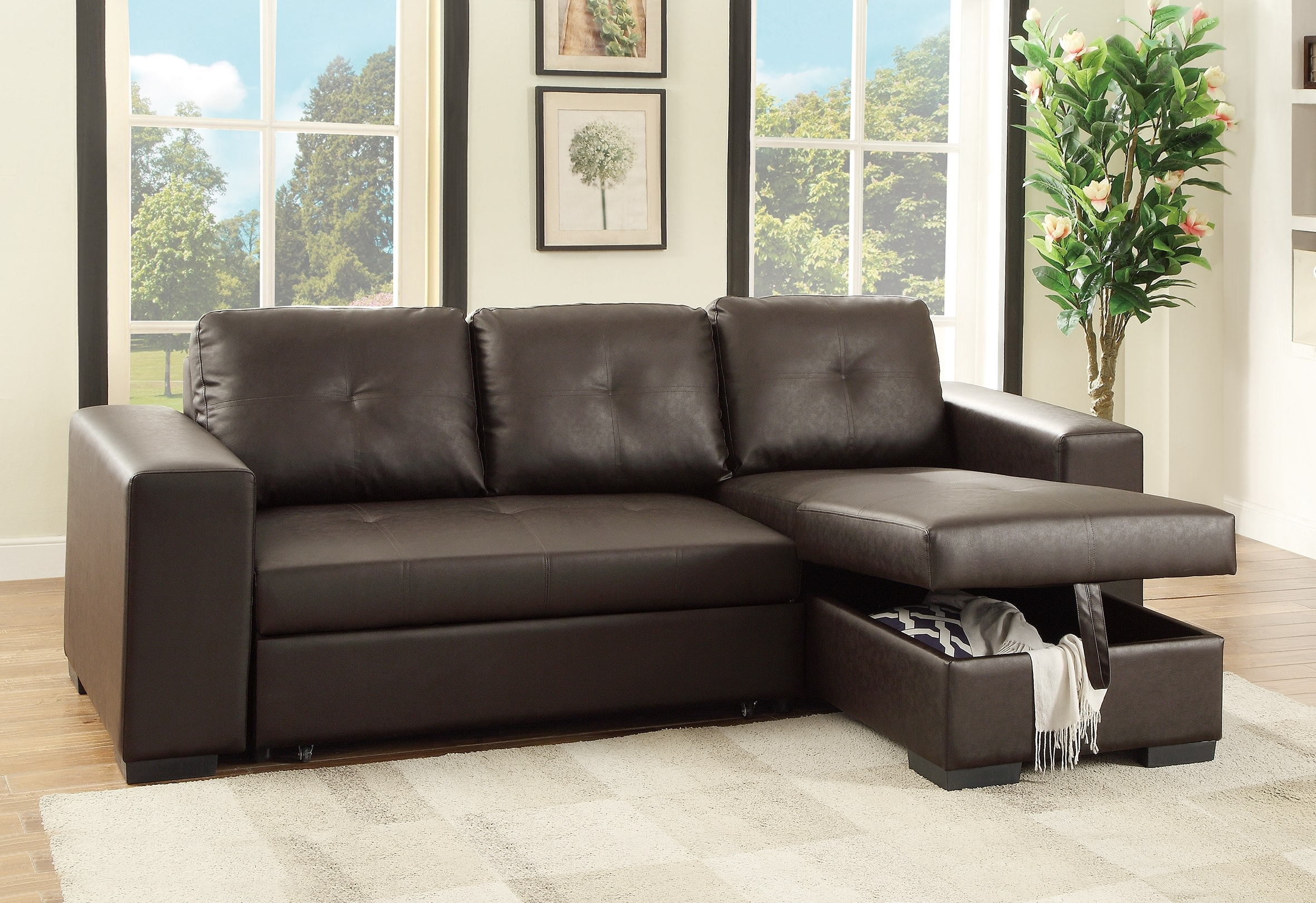 F6930 Espresso Convertible Sectional Sofa Poundex Within Convertible Sectional Sofas (#7 of 12)