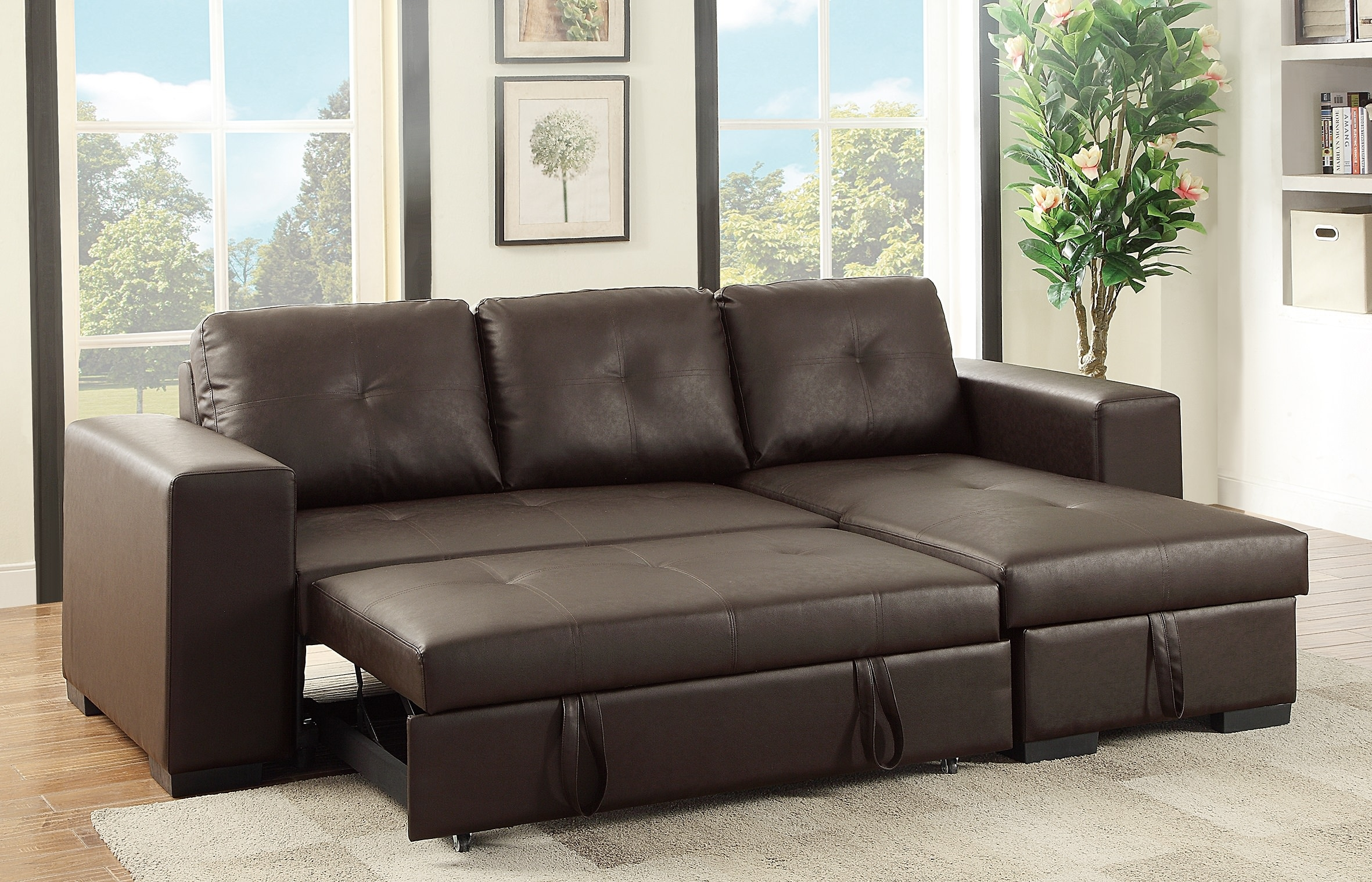 F6930 Espresso Convertible Sectional Sofa Poundex Within Convertible Sectional Sofas (#6 of 12)