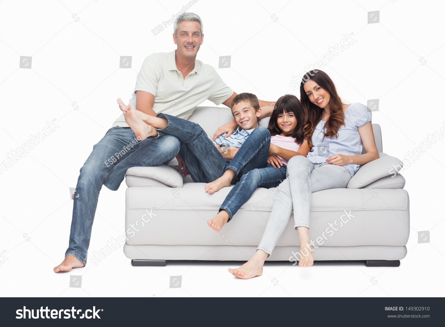 Family Sitting On Sofa Smiling Camera Stock Photo 149302910 In Family Sofa (#5 of 12)
