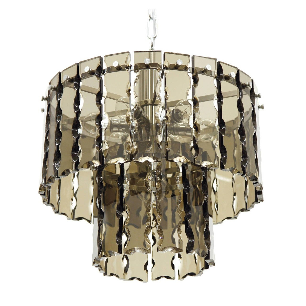 Fontana Arte Style Two Tier Smoke Glass Chandelier For Sale At 1stdibs Inside Smoked Glass Chandelier (#5 of 12)