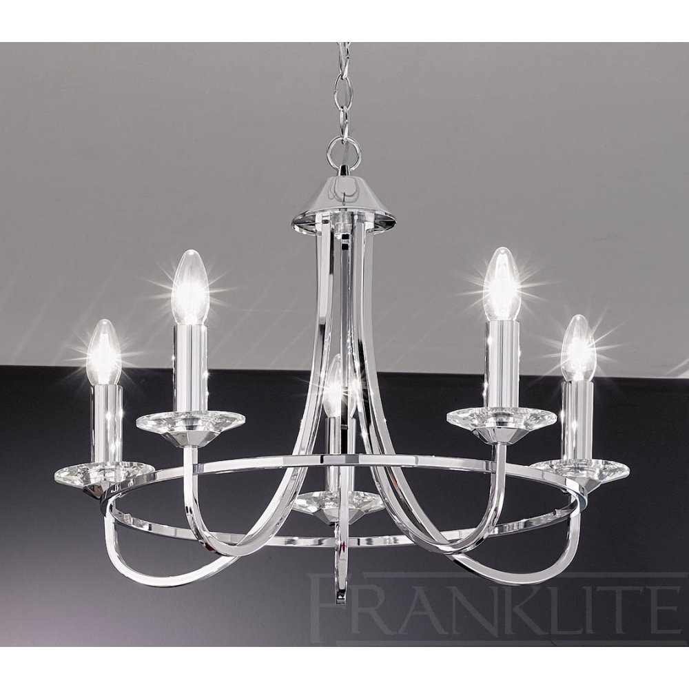 Franklite Carousel Chrome Fl21465 5 Light Chrome Chandelier New For Modern Chrome Chandeliers (#9 of 12)