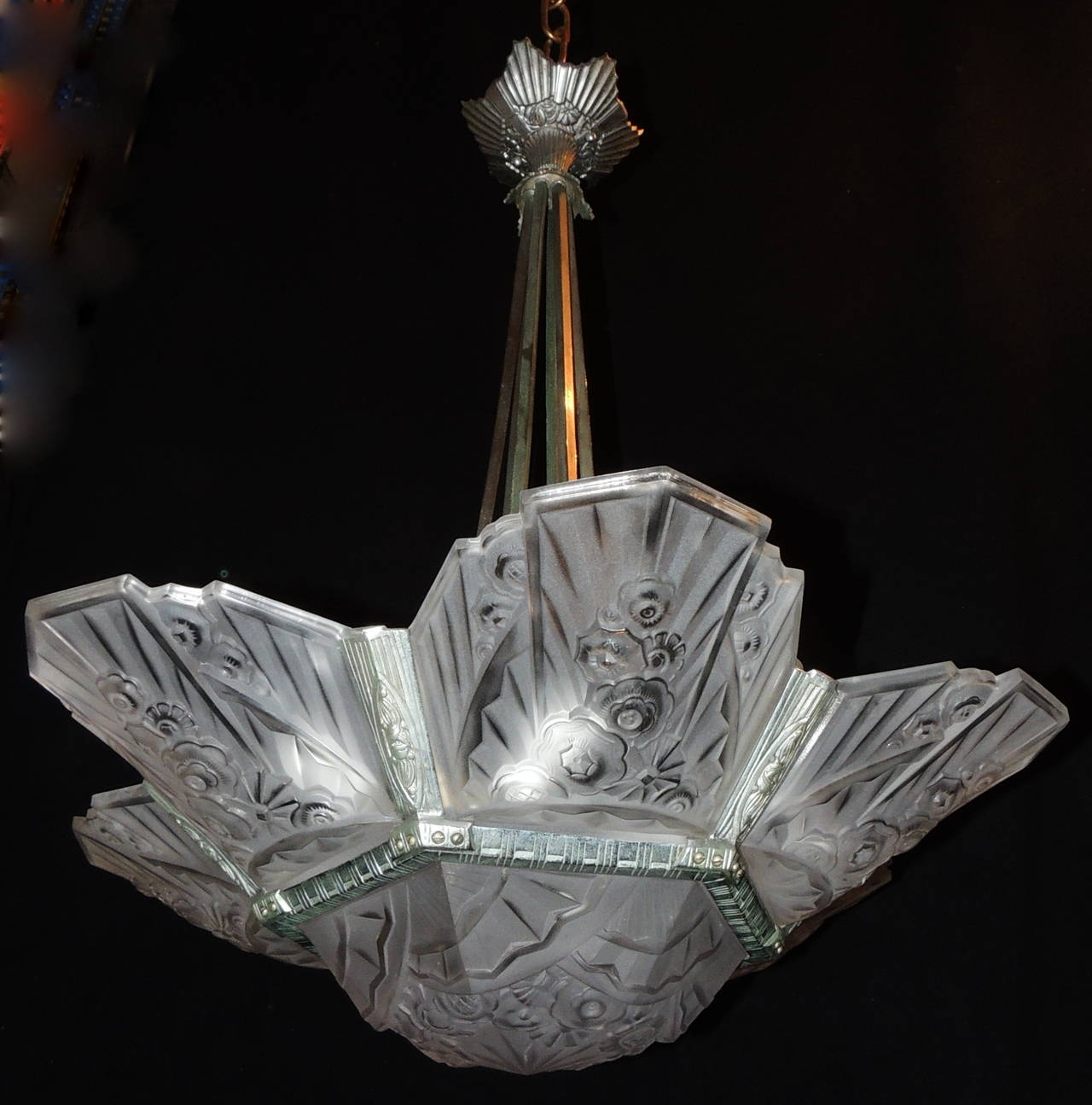 French Art Deco Fixture Signed J Robert Silvered Bronze Frosted Inside French Glass Chandelier (#7 of 12)