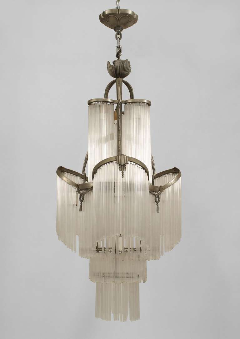 French Art Deco Glass Fringe Chandelier Art Deco Glass Intended For French Glass Chandelier (#8 of 12)
