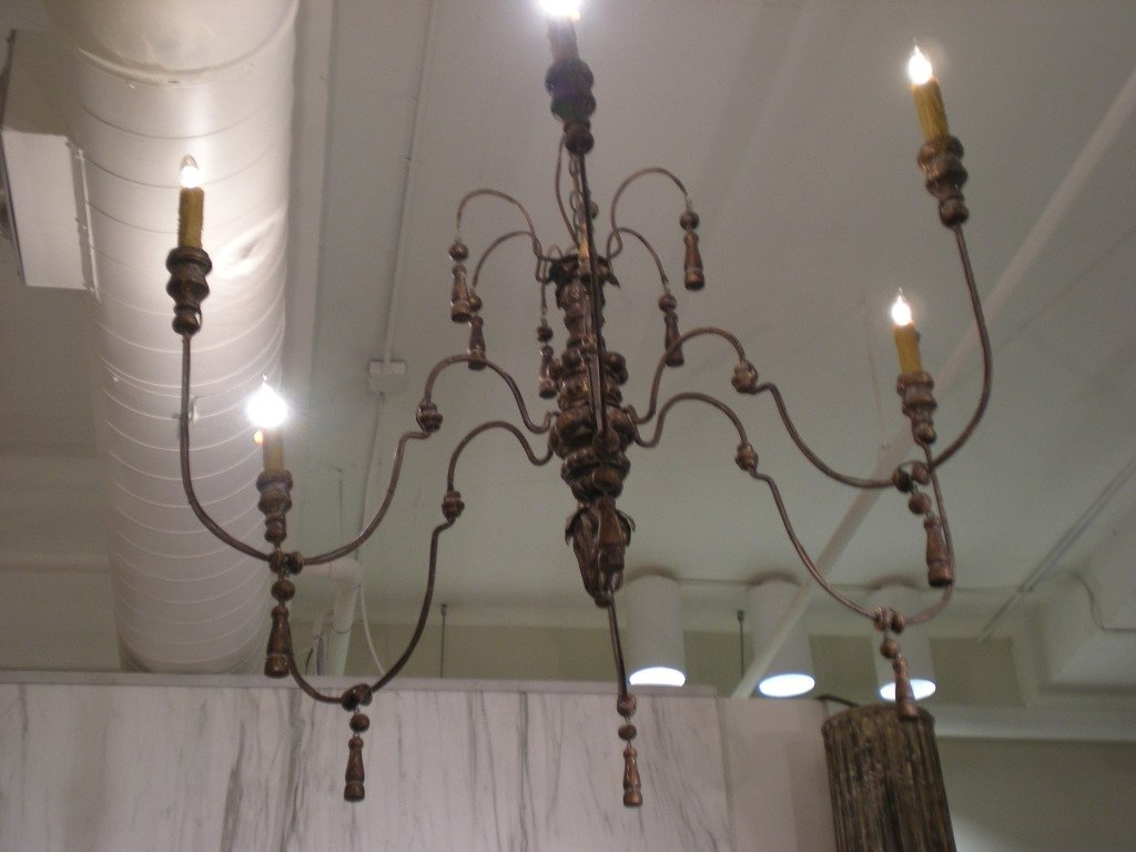 French Metal And Wood Chandelier At 1stdibs For French Wooden Chandelier (#6 of 12)