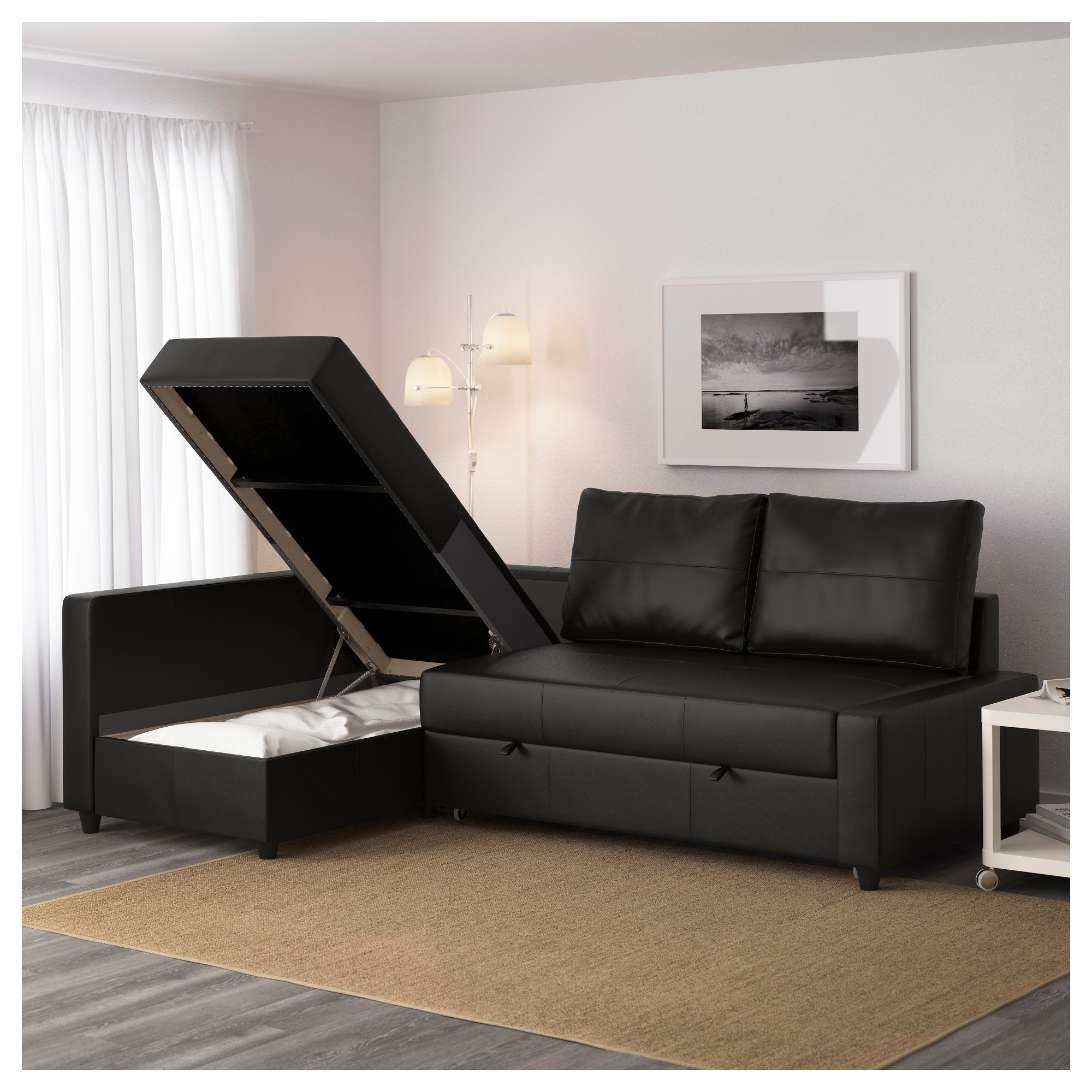 Friheten Corner Sofa Bed With Storage Bomstad Black Ikea Pertaining To Corner Sofa Bed With Storage Ikea (#3 of 12)