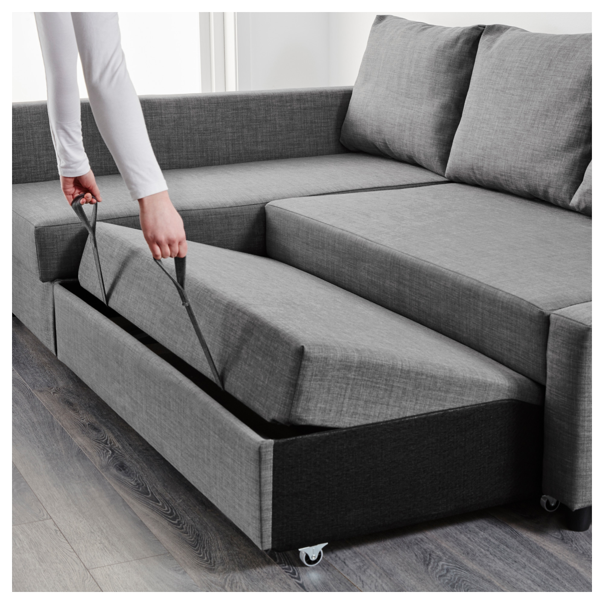 Friheten Corner Sofa Bed With Storage Skiftebo Dark Grey Ikea Throughout Corner Sofa Bed With Storage Ikea (#6 of 12)
