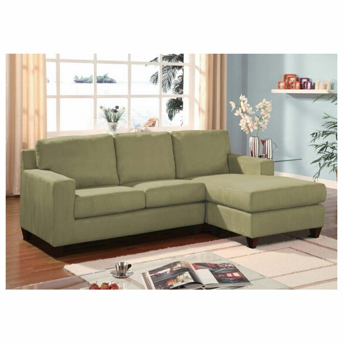 Furniture Green Microfiber Reversible Sectional Sofa With Chaise Pertaining To Apartment Sectional Sofa With Chaise (#5 of 12)