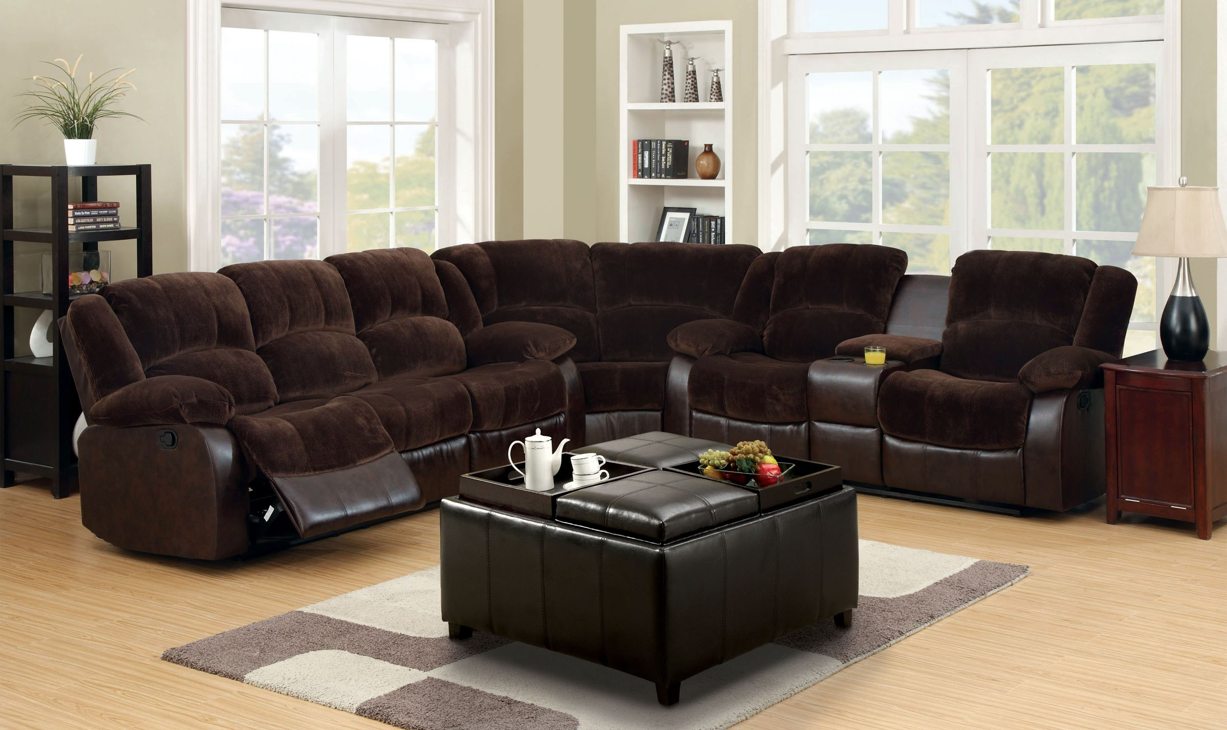 Furniture Of America Cm6556cp Winchester Transitional Brown Inside Champion Sectional Sofa (#5 of 12)