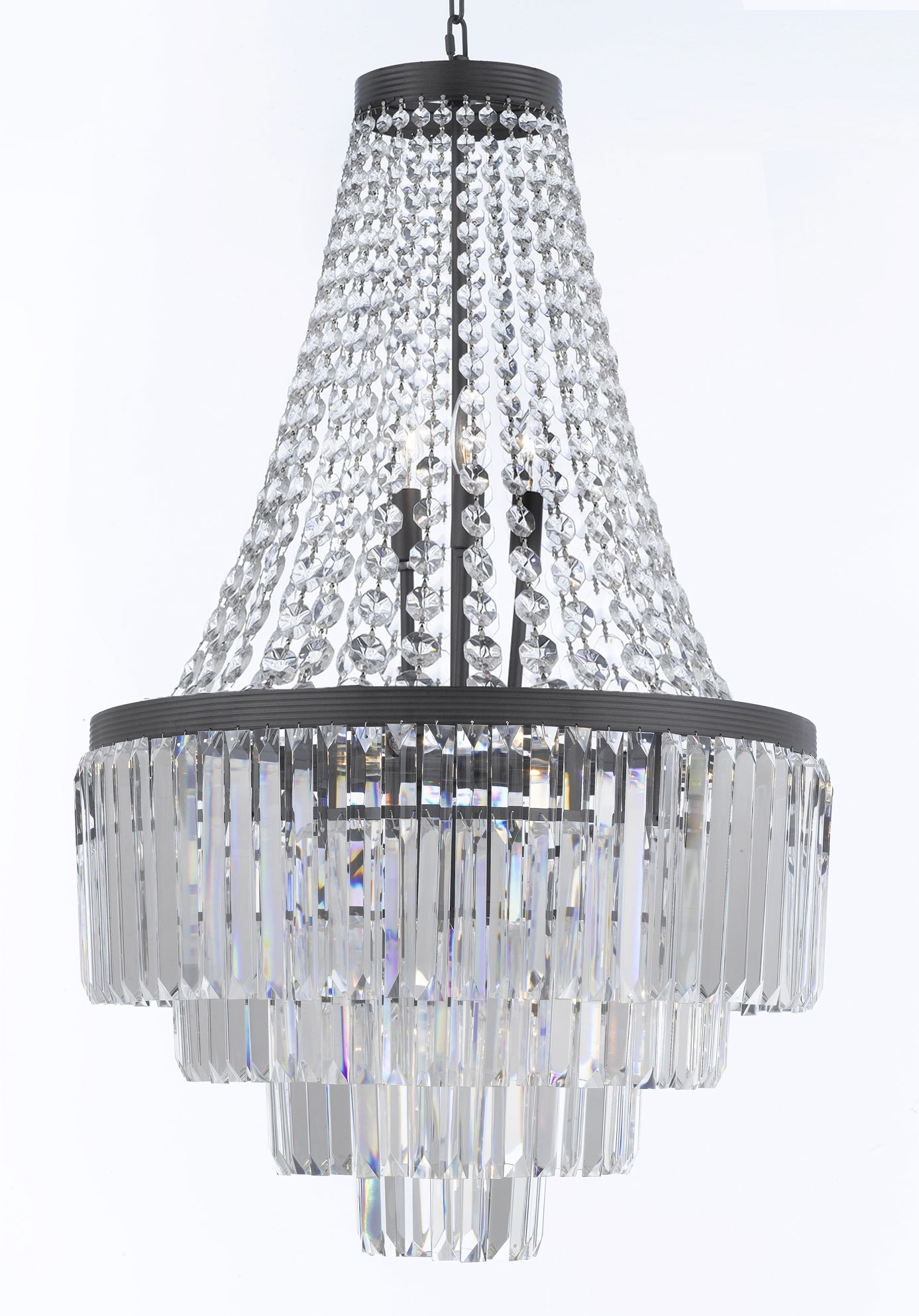 G7 11009 Gallery Chandeliers Retro Odeon Crystal Glass Fringe 3 Intended For 3 Tier Crystal Chandelier (#6 of 12)